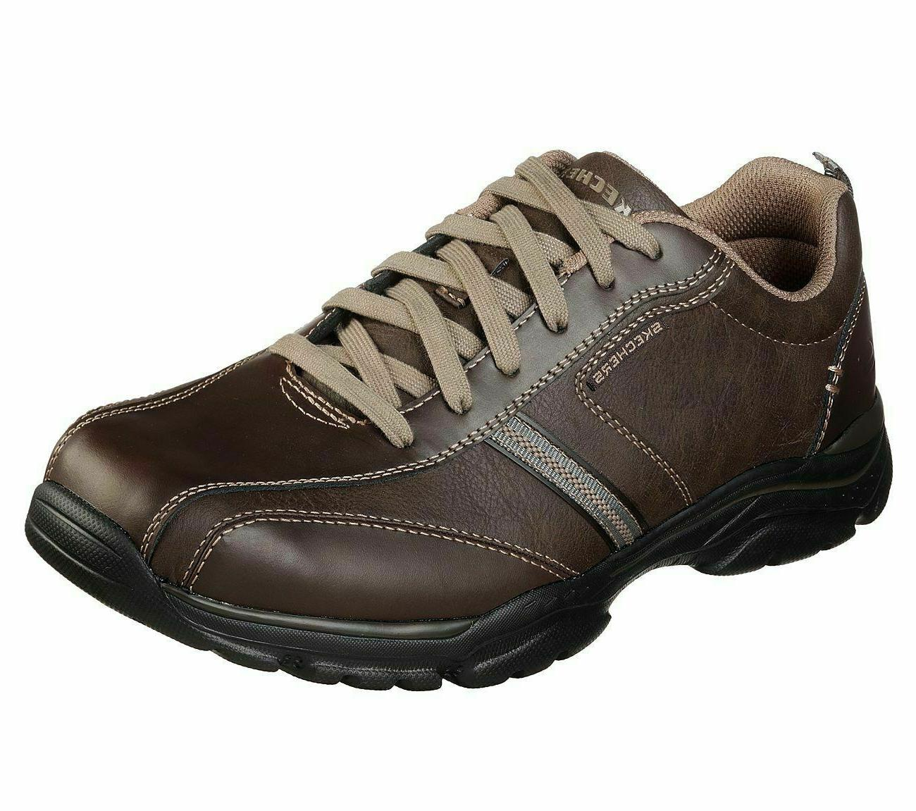 Brown Skechers Shoes Mens Memory Foam Casual Leather 65419 O
