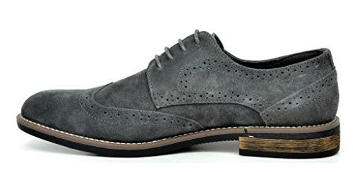Bruno Men's Grey Leather Lace Up Oxfords