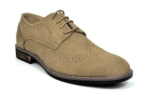 Bruno Marc Men's URBAN-03 Sand Suede Leather Lace Up Oxfords