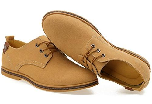 DADAWEN Canvas Oxford Casual Camel US Size