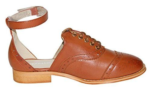 Wanted Women's Lace-Up Ankle Strap Oxford Shoe, Tan,