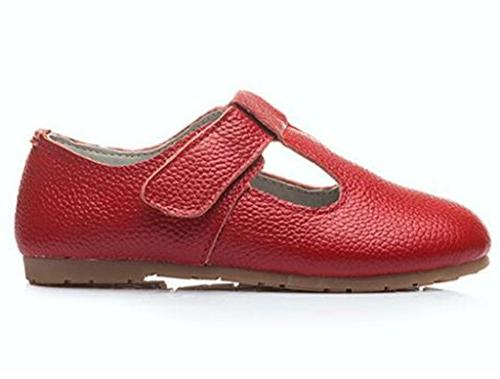 DADAWEN Child's Gril's Leather T-Shaped Strap Shoes Red US M Toddler