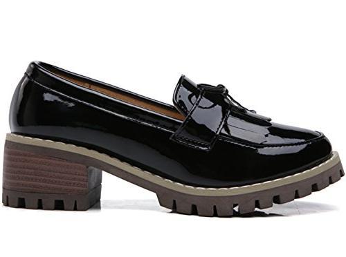 DADAWEN Women's Slip-On Toe Dress Black Size