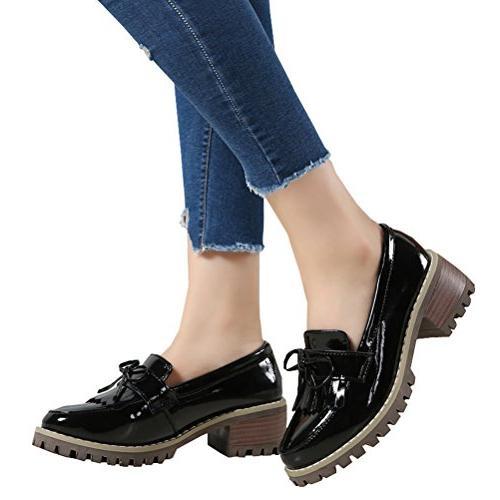 DADAWEN Classic Tassel Slip-On Mid-Heel Square Toe Oxfords Black US
