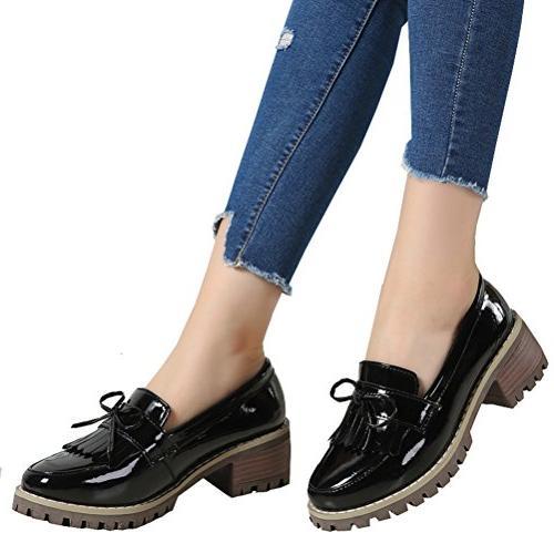 DADAWEN Slip-On Platform Toe Black Size 6