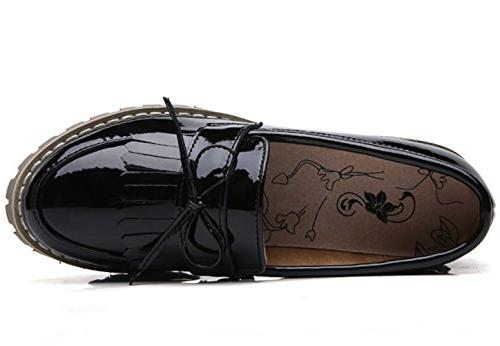 DADAWEN Slip-On Platform Mid-Heel Black US Size