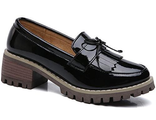 DADAWEN Classic Slip-On Platform Toe Black Size