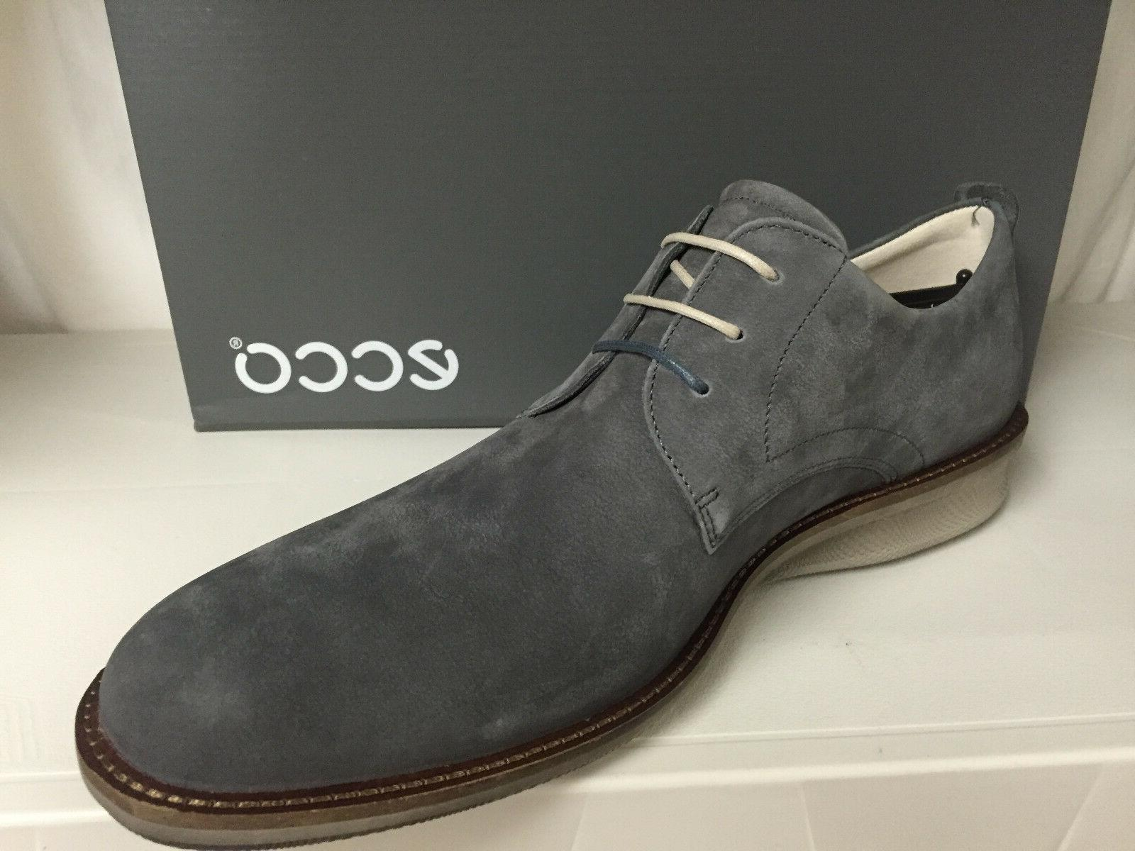 Ecco Contoured Men's Toe Oxfords Lace Up Leather Shoes Gray
