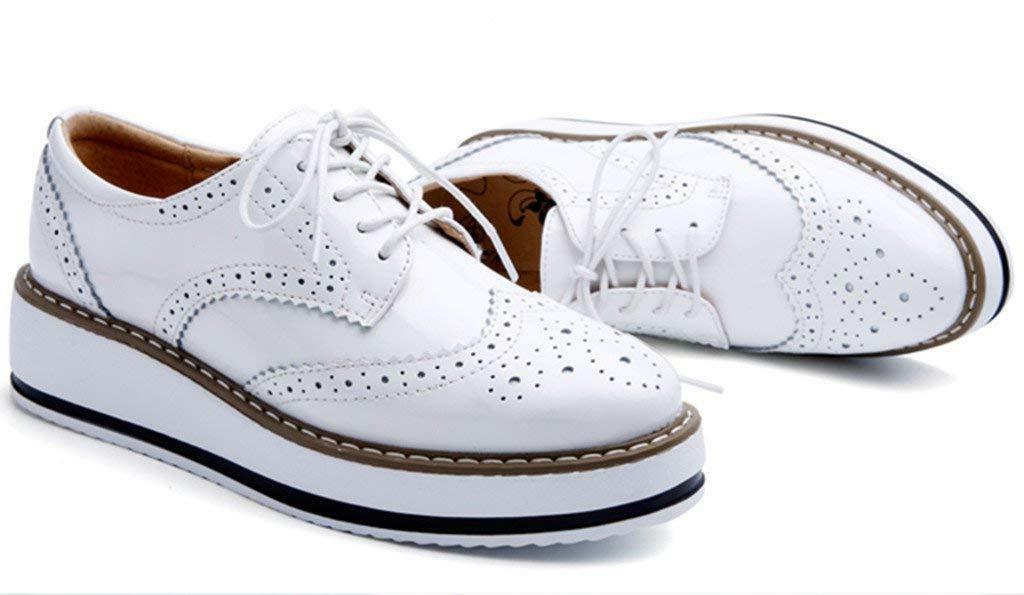 DADAWEN Women's Platform Wingtips Shoe