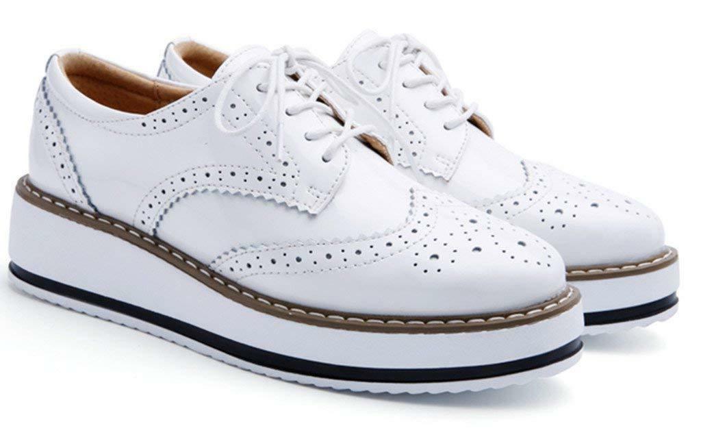 DADAWEN Platform Lace-up Wingtips Shoe
