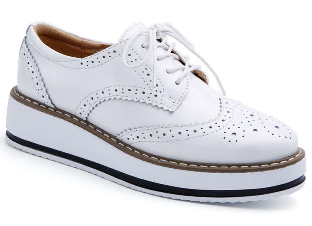 DADAWEN Platform Lace-up Wingtips Oxfords Shoe
