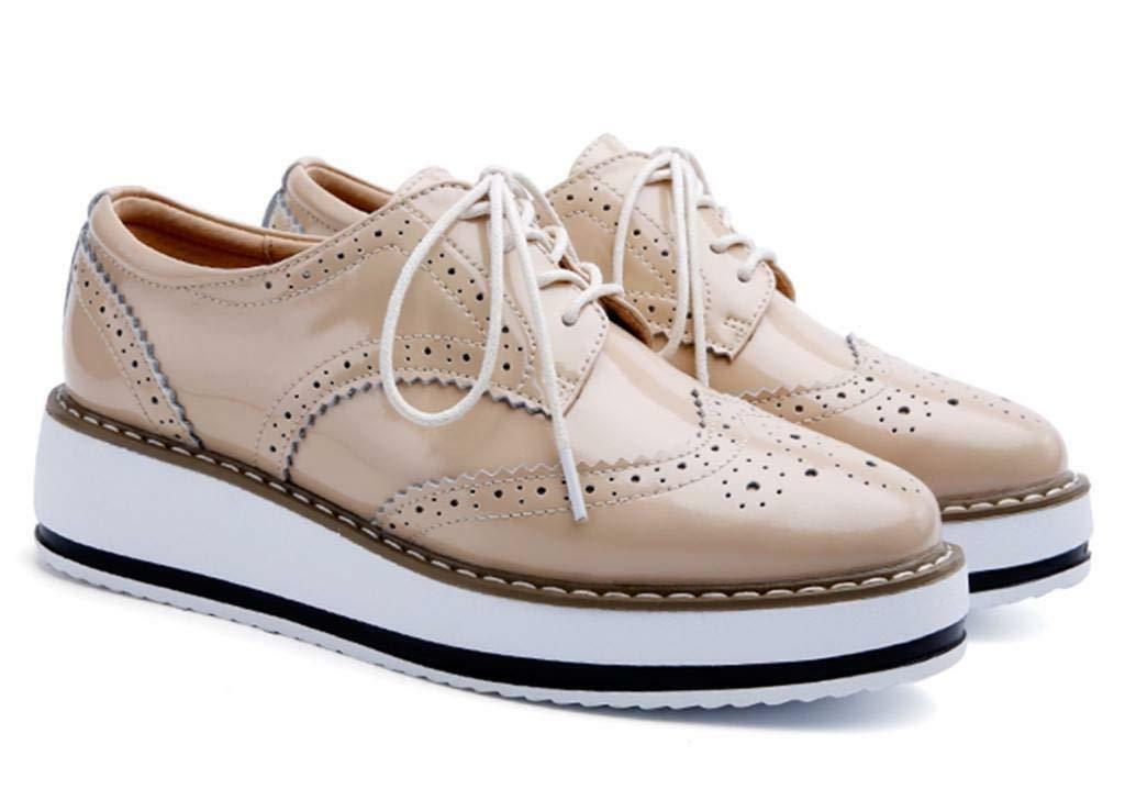 DADAWEN Platform Lace-up Wingtips Toe Shoe
