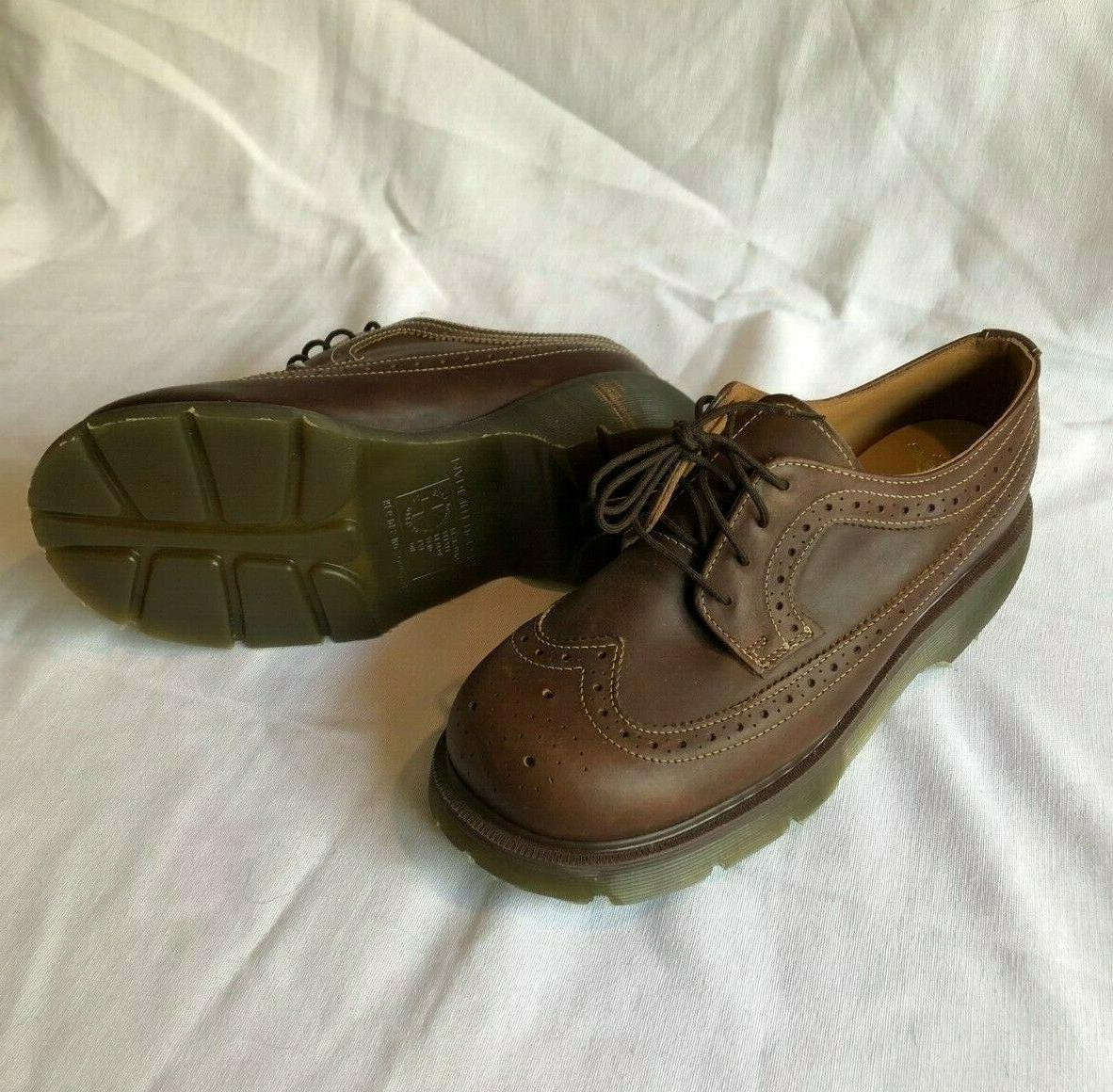 dr martens brown leather wingtip oxford lace
