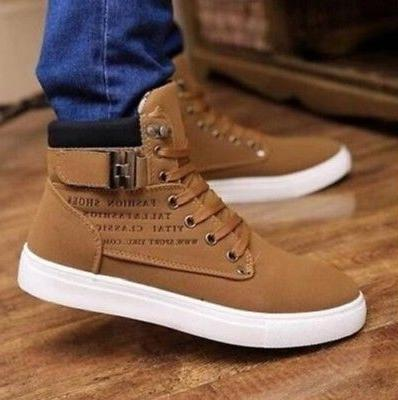 Fashion Mens Oxfords Casual High Leather Shoes Sneakers New