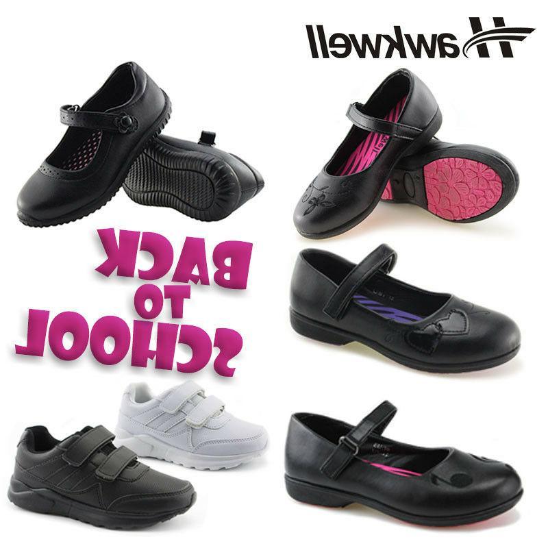 Hawkwell Girls Black Mary Jane School Shoes Uniform Students
