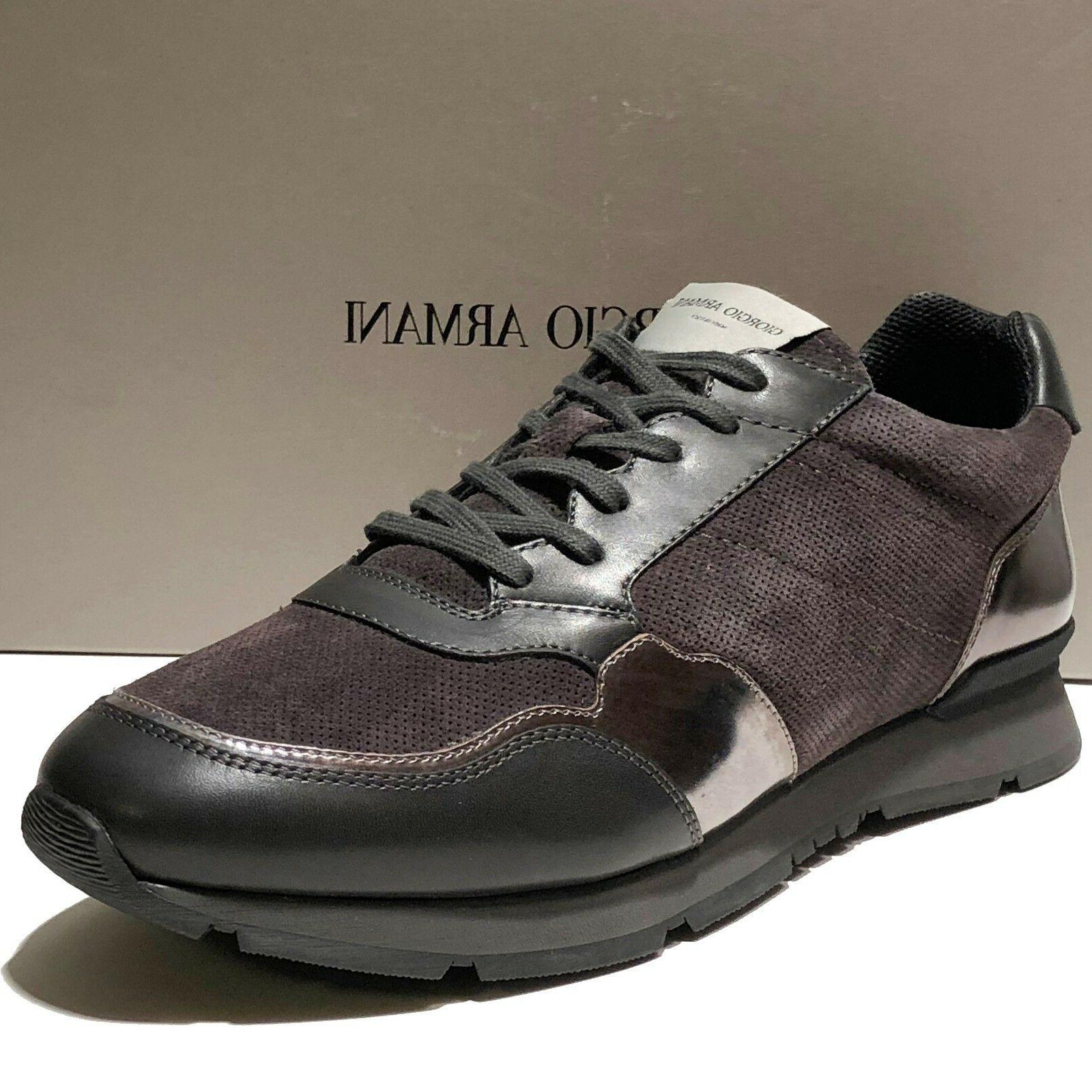 Giorgio Armani Italy Black Leather Fashion SNEAKERS Men's Sh