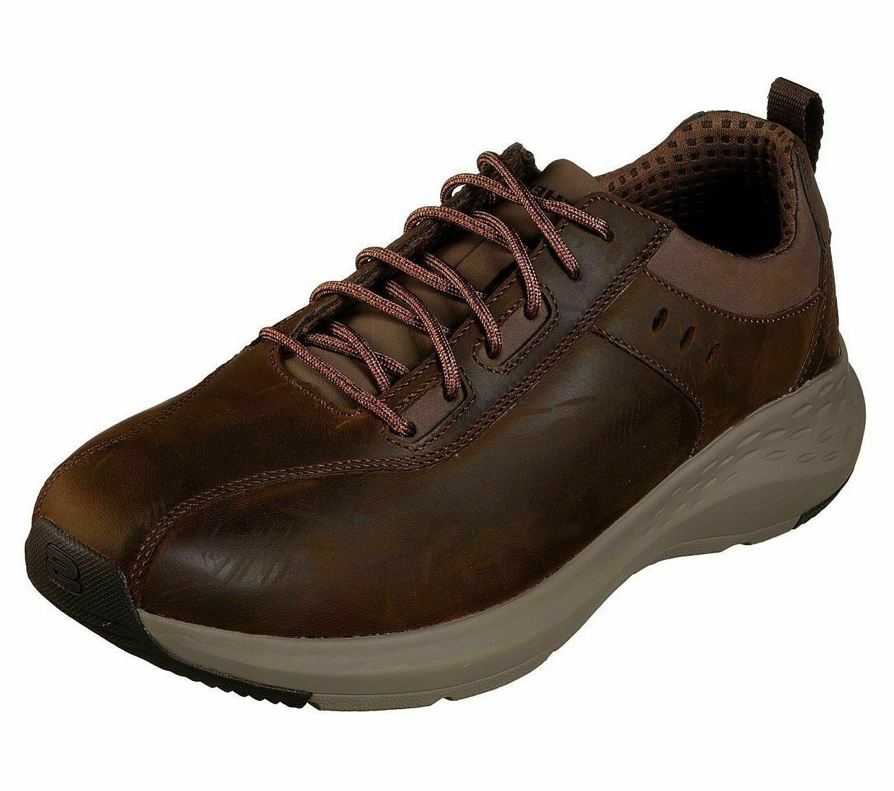 Leather Skechers Brown Shoes Men Memory Foam Sporty Casual C