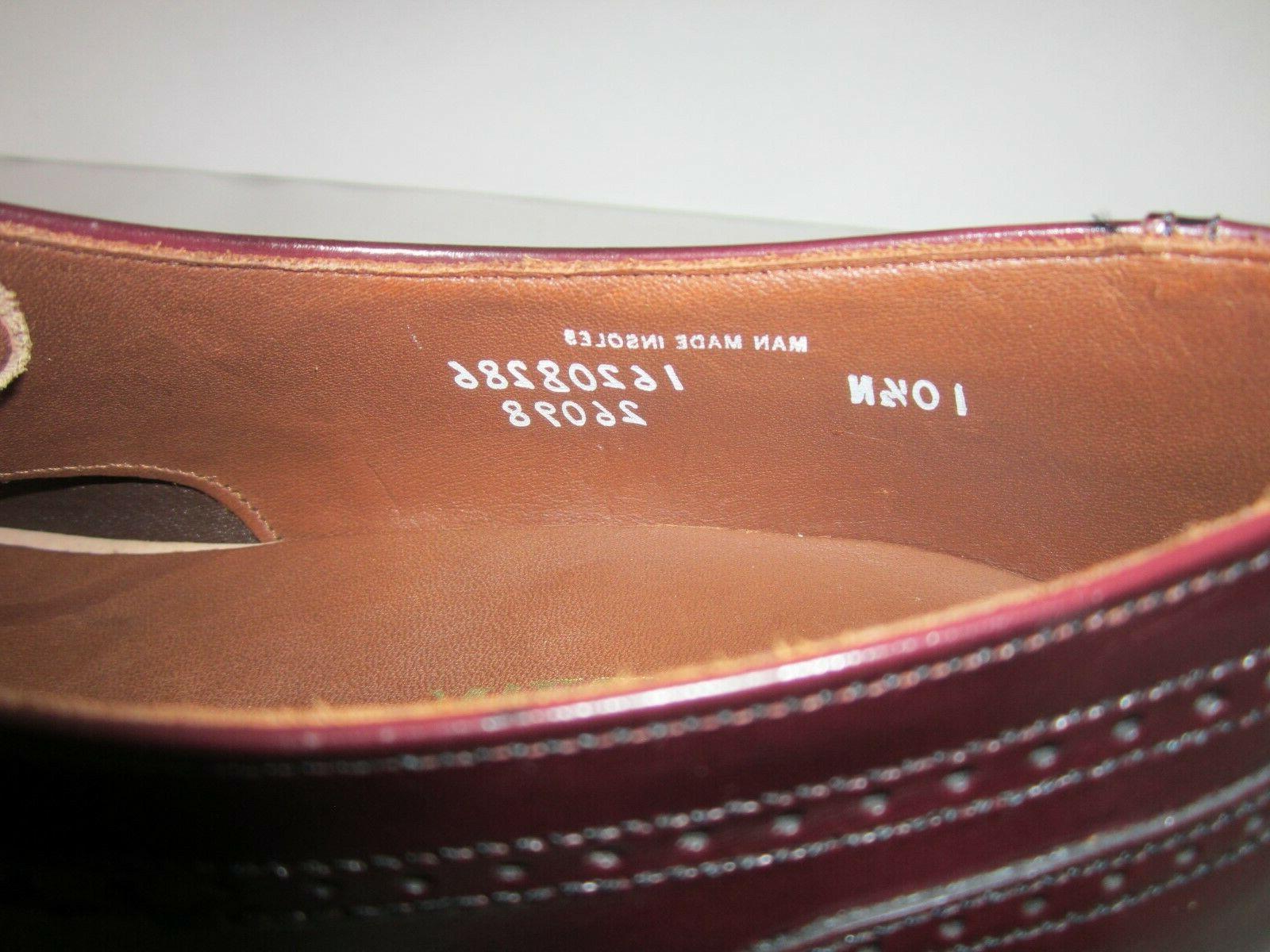 Leather Burgundy Wingtip Shoes 10.5 N
