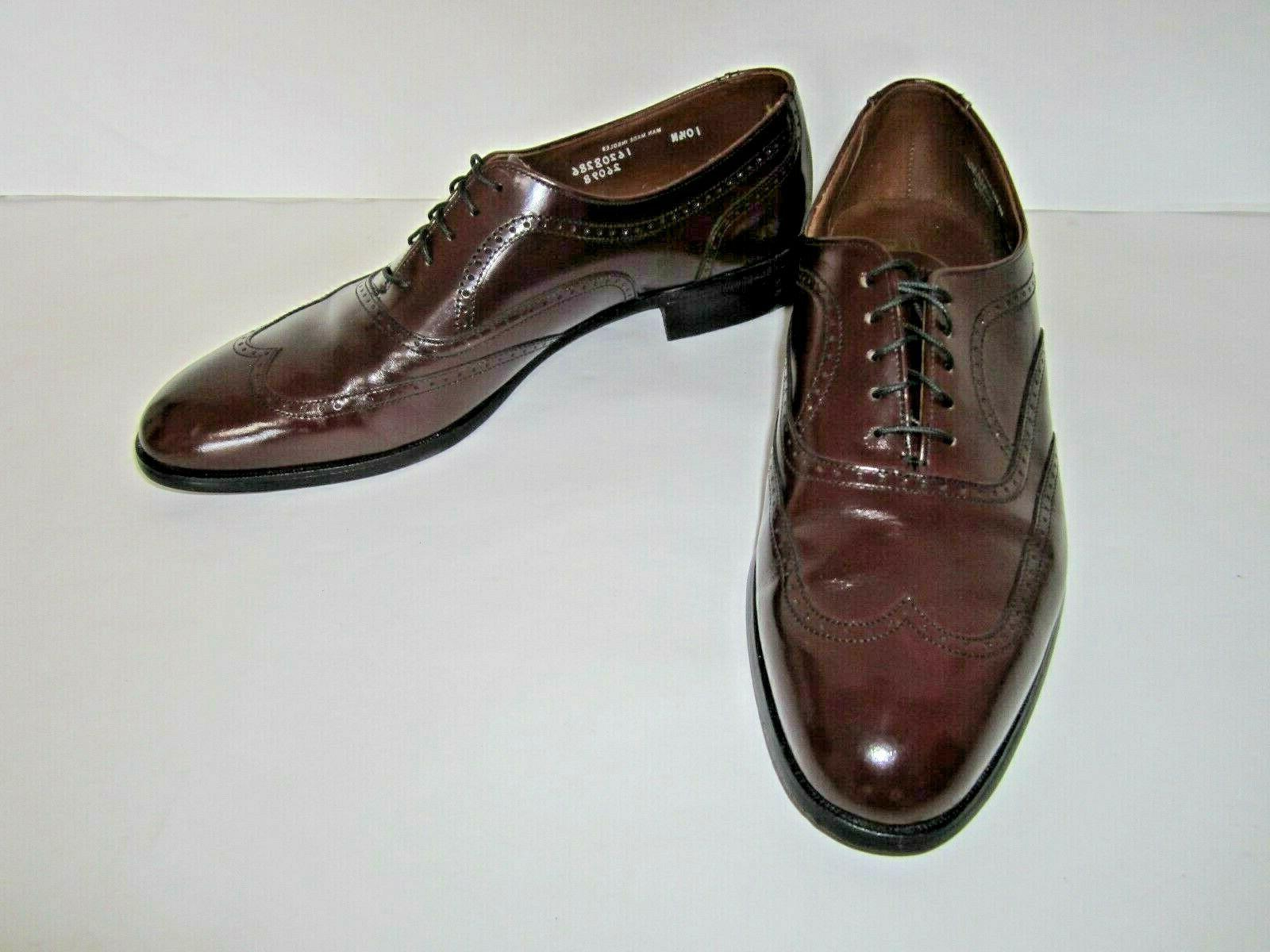 leather mens burgundy wingtip oxford shoes sz
