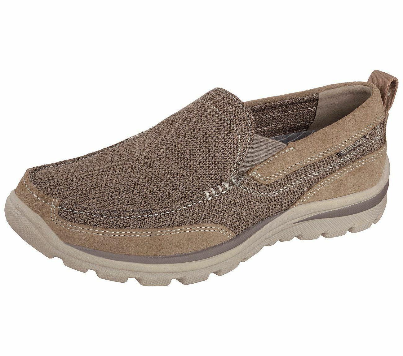 Men's Skechers 64365/LTBR Superior-Milford Slip Ons Light Br
