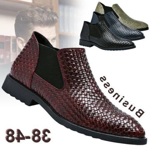 Men's Knitted Leather Boots Oxford Formal Shoes