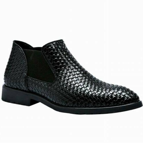 Men's Weave Leather Boots Formal