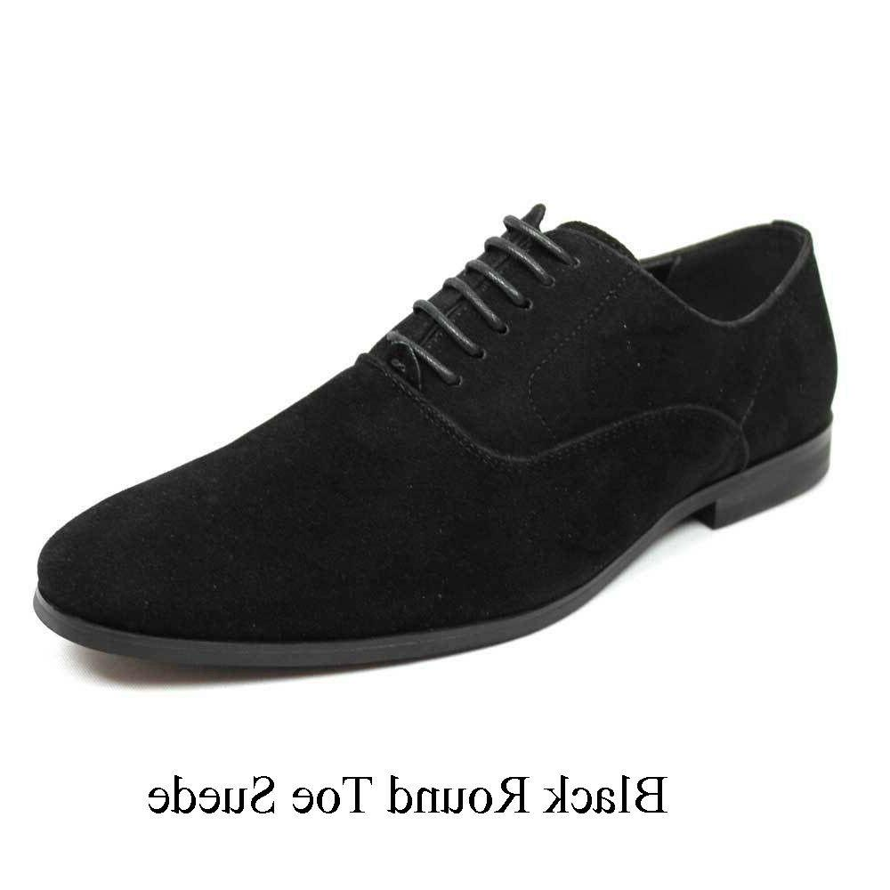 Mens Black Dress Shoes Up Oxfords Lining Suede AZAR