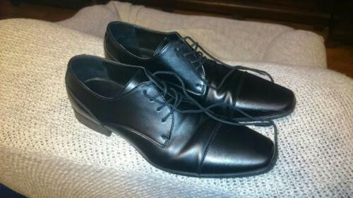 Calvin Klein Men's Black Leather Oxfords Dress Shoes, Size 1