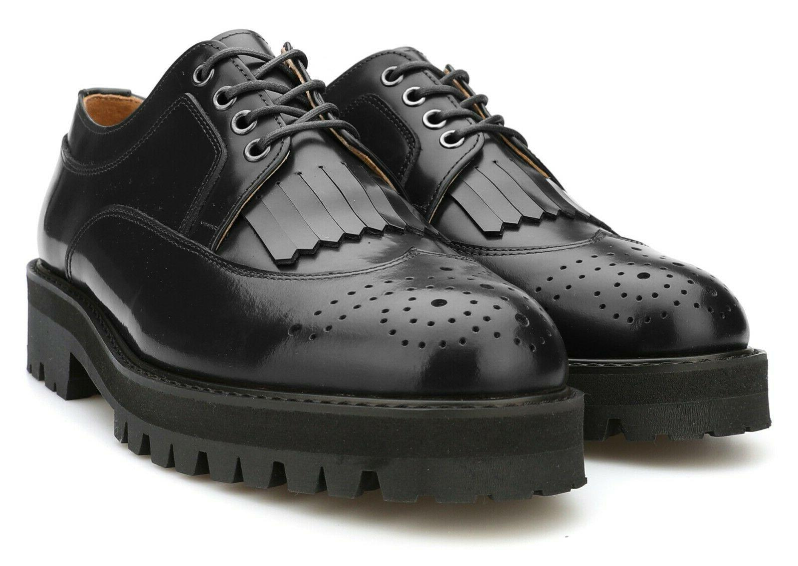 Firenze Atelier Men's Black Leather Wing Tip Kiltie Lace Vibram