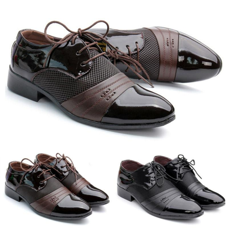 Men's Lace Up Oxfords Leather Shoes Breathable Wedding Dress