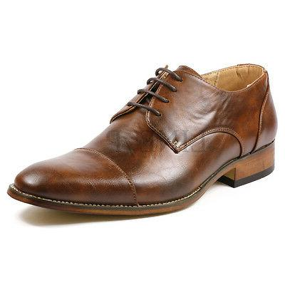Men's Cap Toe Lace up Oxford Fashion Dress Shoes