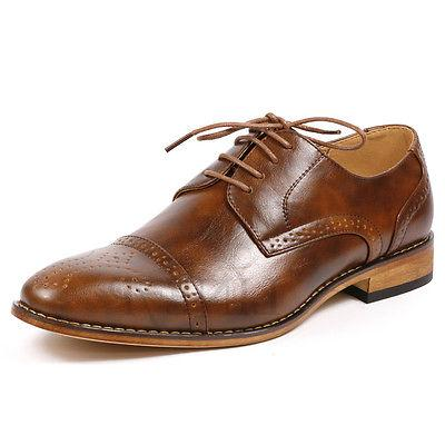 Men's Cap Toe Perforated Lace Up Oxford Dress Shoes