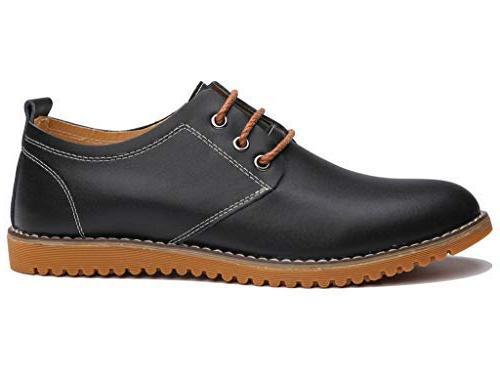 DADAWEN Men's Modern Lace Leather Dress Shoes Black Size 7