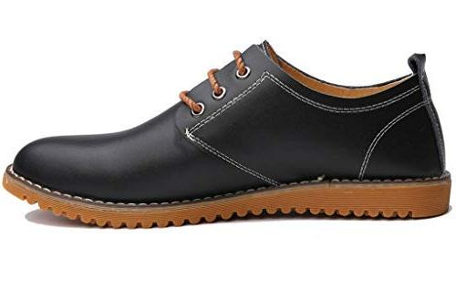 DADAWEN Men's Classic Modern Lace Up Leather Oxford Dress Shoes Black Size