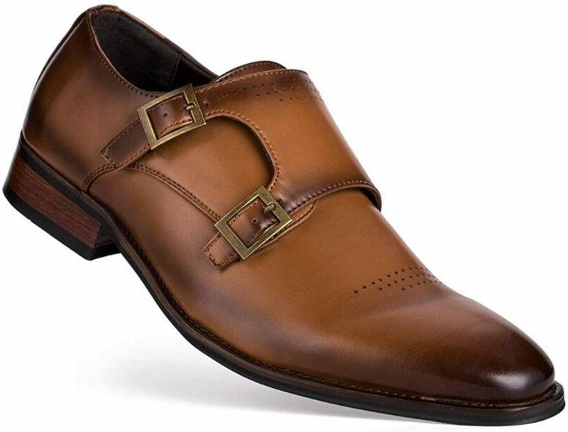 Jivana Men'S Classic Oxford Dress Shoes Double Buckle Monk S
