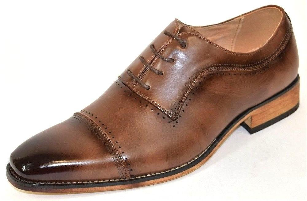 Men's Dress Shoes Cap Toe Oxford Brown Color Lace Up CONNLEY