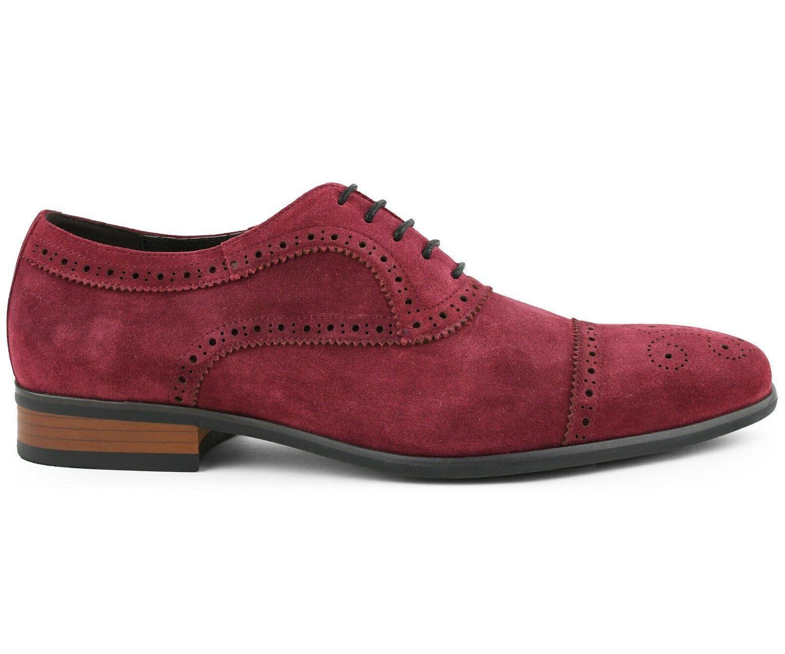 Men's Cow Suede Leather Toe Oxfords, Lace Dress Shoe