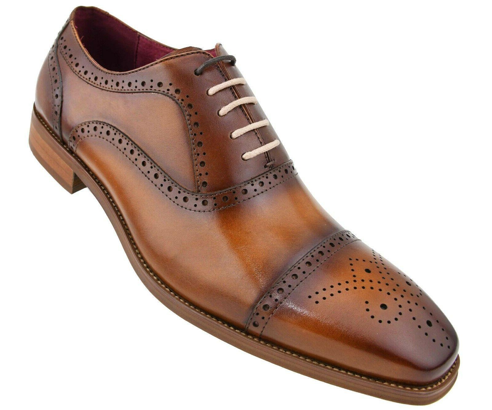 Men's Genuine Leather Cap Toe Oxfords, Dress Shoes