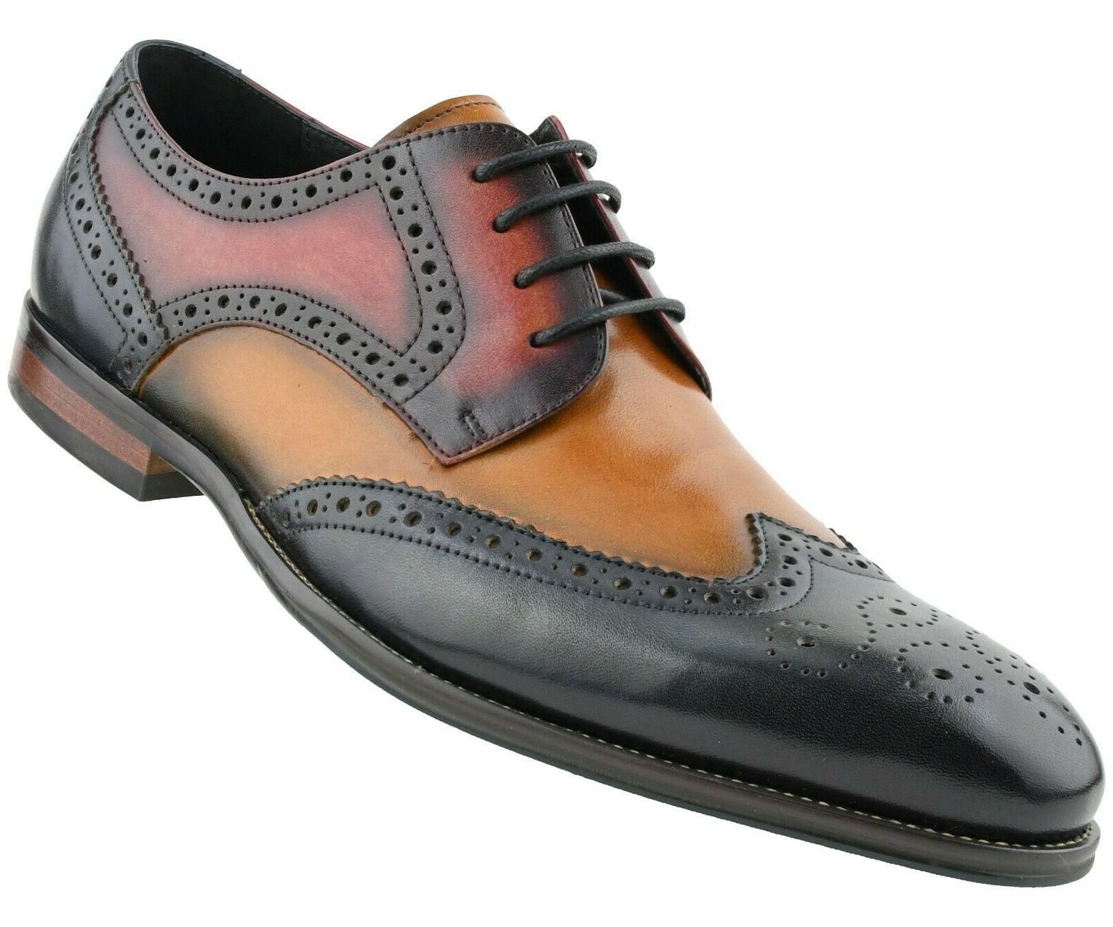 Men's Shoes, Leather for Multi Wing Oxfords