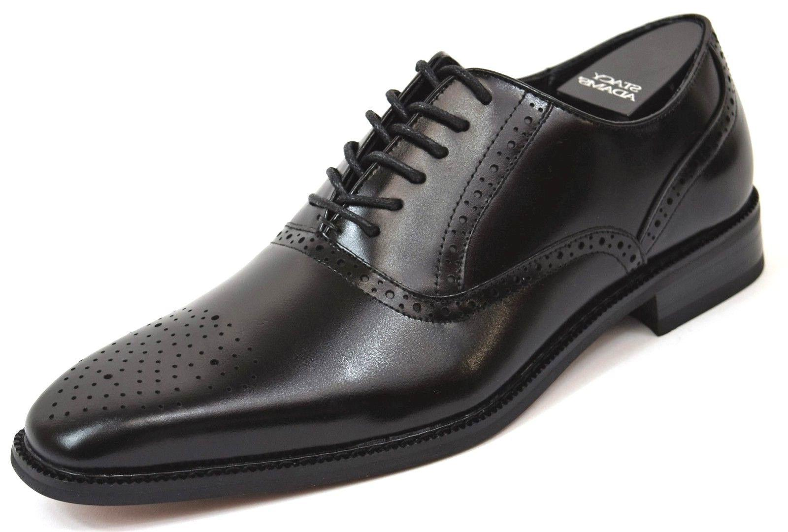 Men's Dress Shoes Plain Toe Oxford Solid Black Leather BISHO