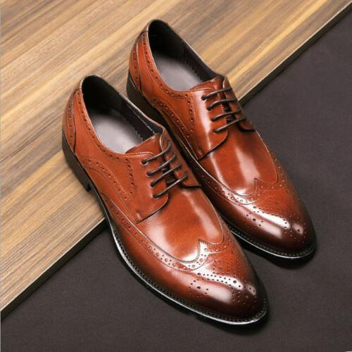 Men's Formal Oxfords Shoes Leather Suit Lace up Brogue Wing