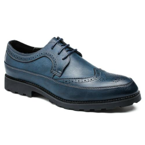 Men Oxfords Brogues Leather Formal Casual Dress Lace up Wing
