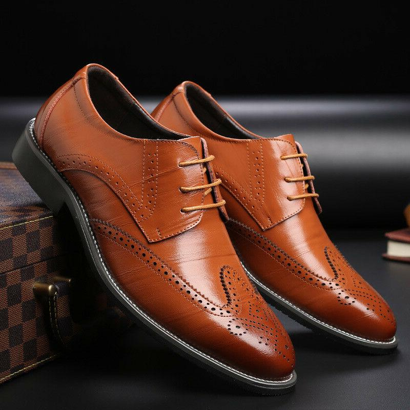 Men's Oxfords Brogue Formal Casual Dress Lace up Wing Wedding Shoes