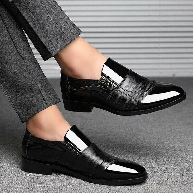 Mens Slip On Tuxedo Formal Shoes Pointed Toe Patent Oxfords Shoes