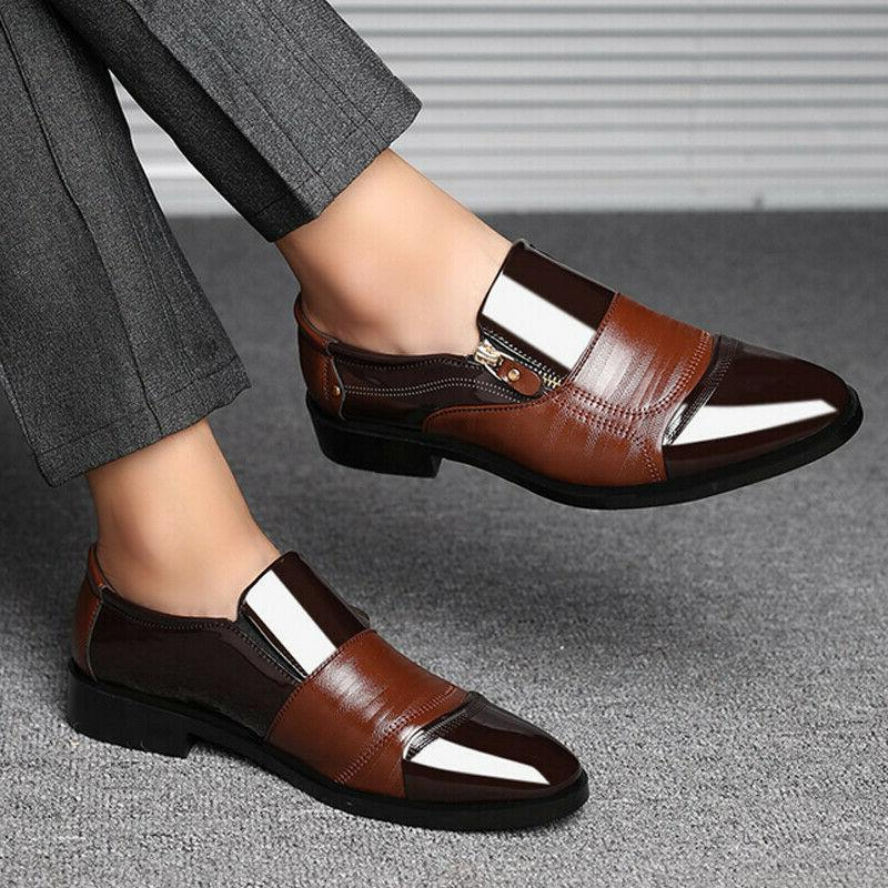 Mens Slip On Tuxedo Formal Pointed Toe Patent Oxfords Shoes