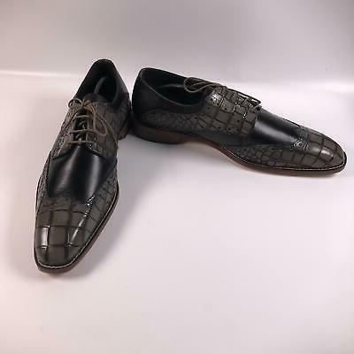 STACY ADAMS Men's Wingtip Dress Oxford, Black/Gray, 12