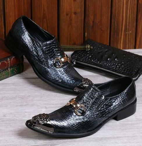 Mens Metal Toe Wedding Formal Loafers Shoes