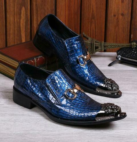 Mens Pointy Metal Toe Business Formal Party Loafers