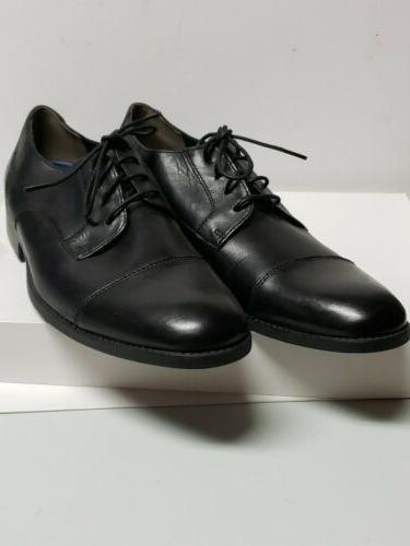 Bostonian Mens Leather Garian Cap Size 9 M Black tie oxford