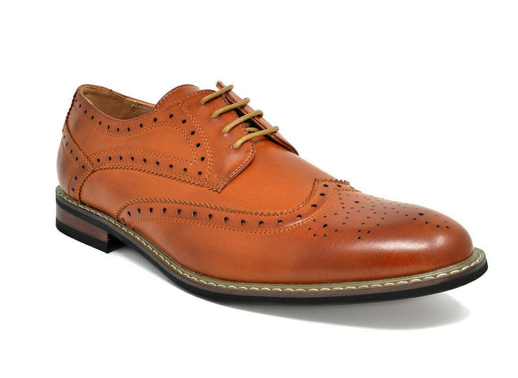 US Mens Classic Brogue Modern Formal Oxford Wingtip Lace Up